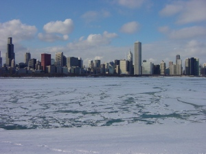 Chicago's Central Business District on a Frozen Lake Michigan