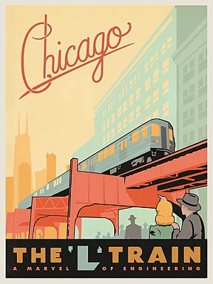 Chicago s elevated rapid transit system tracking the for Vintage chicago posters