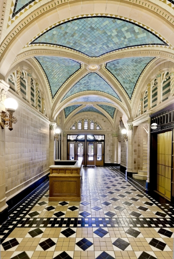 The ornate lobby of the Monroe Building was restored.