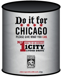 Participating BOMA/Chicago member buildings displayed these barrels to collect food.