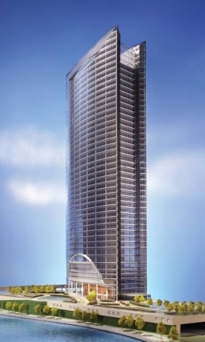 A rendering of the River Point office tower