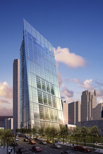 A rendering of the proposed office tower at 625 W. Monroe St.