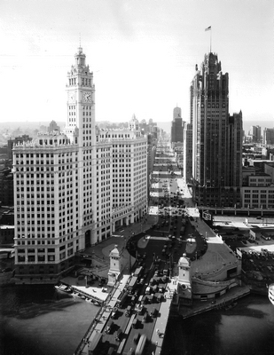 The Wrigley Building in the late 1920s looking north on Michigan Ave.