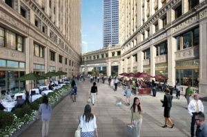Revamped Wrigley Building plaza retail arcade