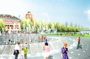 Rendering of the new Navy Pier water fountain