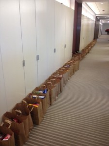 Bags of food donations line the walls of the American College of Surgeons office in 2012.